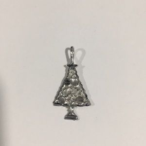 14k White Gold Shiny Christmas 🎄 Tree Charm